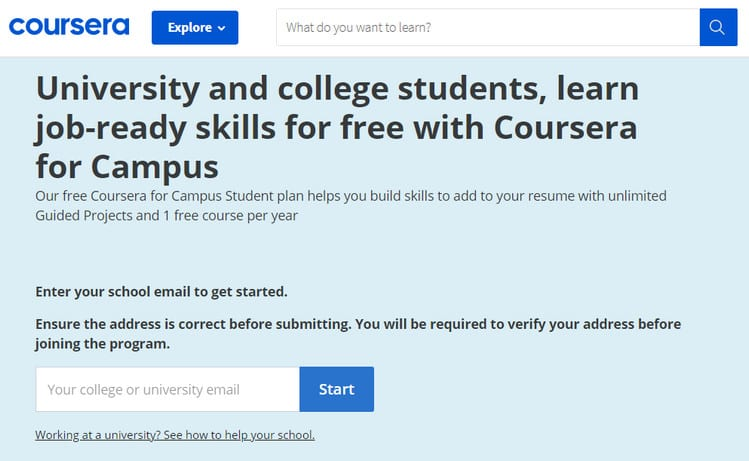 coursera for college