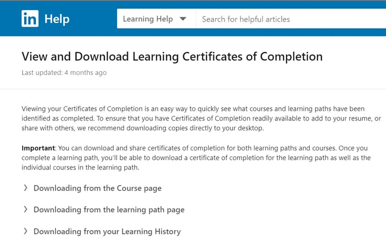 certificate on linkedin