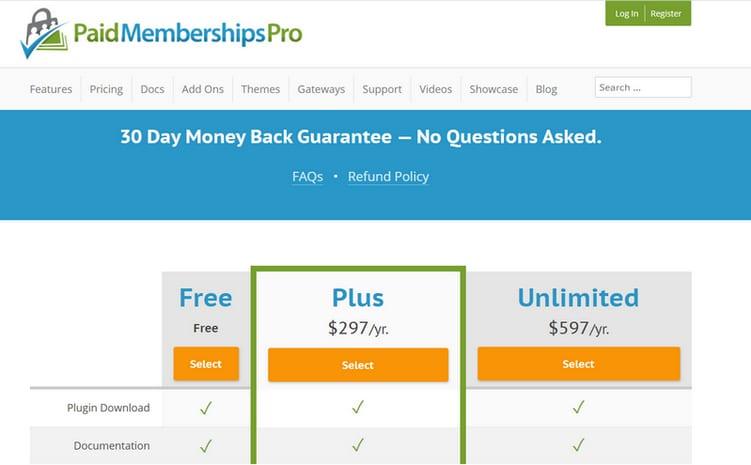 pmpro price plan