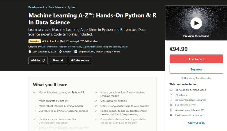 Machine Learning A-Z Hands-On Python And R in Data Science