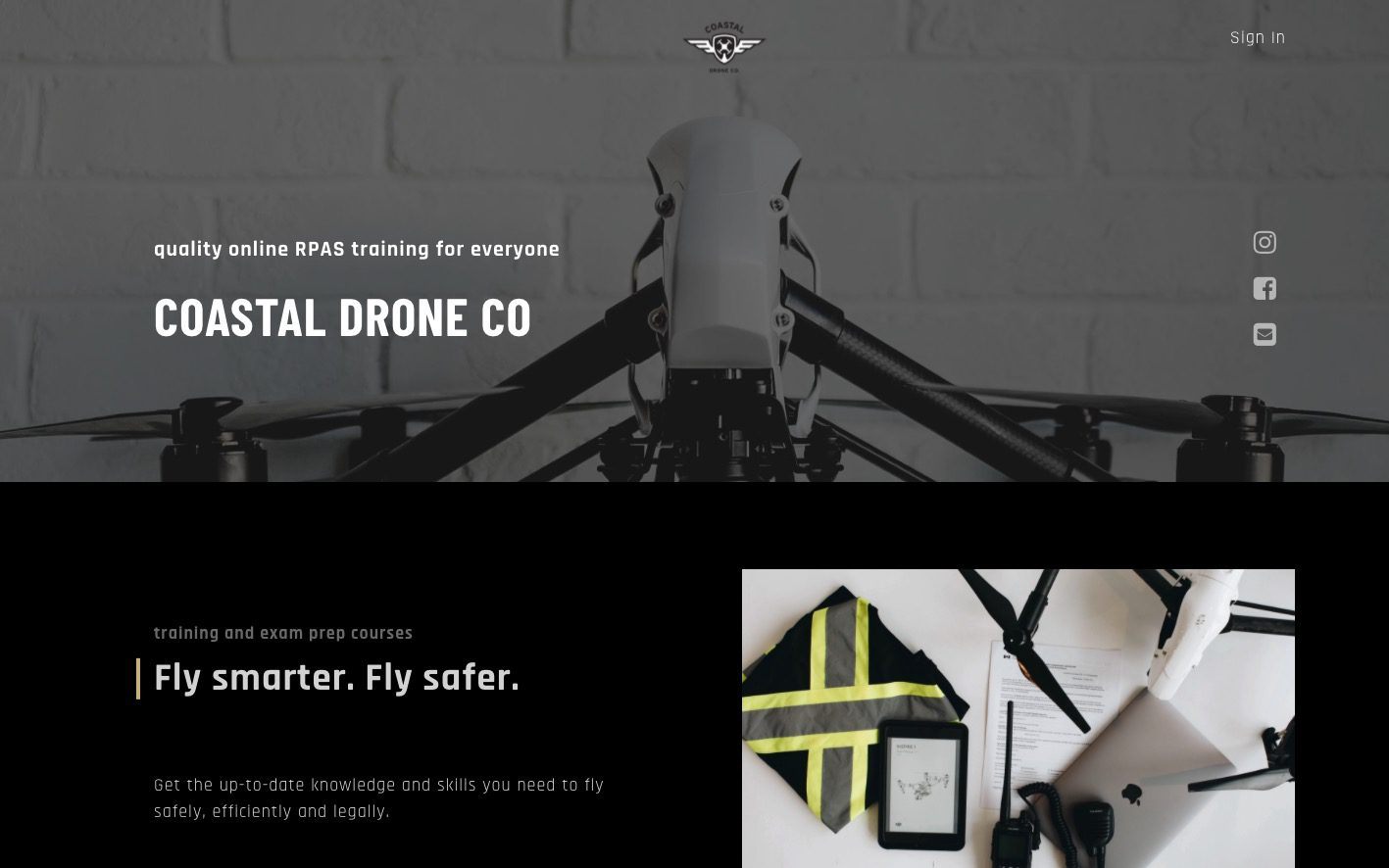 Drones course website on thinkific