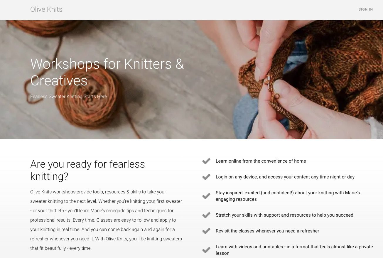 Knitting course example on thinkific platform